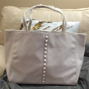 JUSTFAB White Studded (Faux Leather) Tote